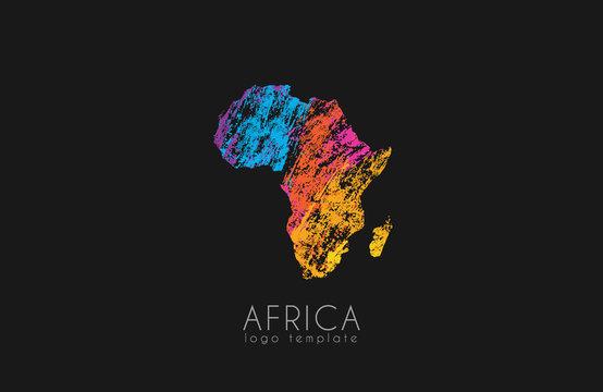 Abstract africa logo. Color Africa logo. Colorful logo design.