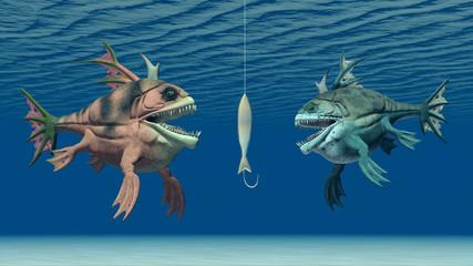 Angelköder und monströse Fische