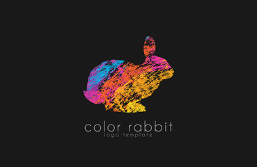 Rabbit logo. Color rabbir logo design. Creative animal logo.