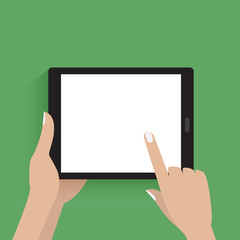 Hands hold and use modern tablet with blank screen. Flat icon isolated on white.
