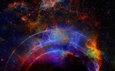 Cosmic space and stars with light circle and cosmic raibow, color cosmic abstract background.