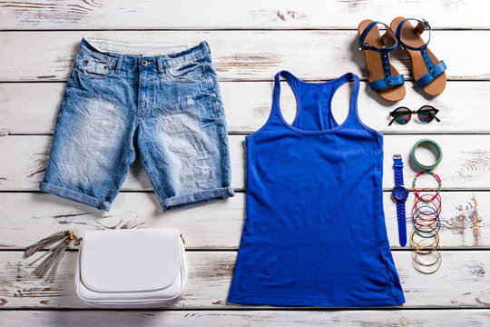 Woman's tank top and shorts.