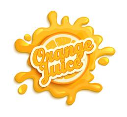 Orange juece label splash.
