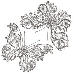 Vintage hand drawn doodle decorative fly butterfly.