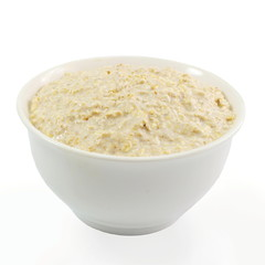 oatmeal porridge in bowl in white background