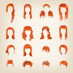 Assortment of female red hair