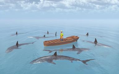 Mann im Boot im Haifischbecken