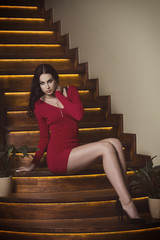 fashion woman on stairs