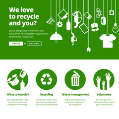 Recycle, Ecology & Waste management banners.