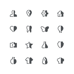 Symmetric vector half colored icons - different grey symbols on the white background