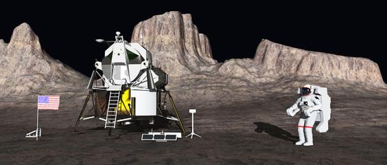 Apollo lunar module and astronaut