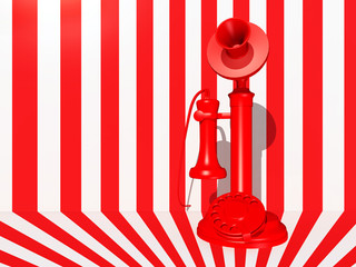 Red candlestick telephone