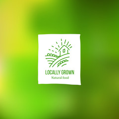 Locally grown label at green backdrop