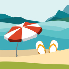 Summer beach with color flip flops and red umbrella. Flat design illustration.