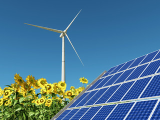 Solaranlage, Windkraftanlage und Sonnenblumen