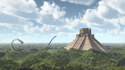 Dinosaurs and Mayan temple