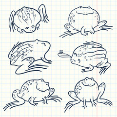 Vector cartoon line art frogs