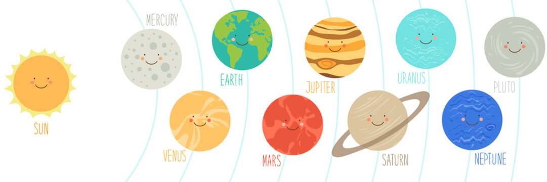 Cute smiling cartoon characters of planets of solar system, can be used for kids education as cards, books, banners. Childish background