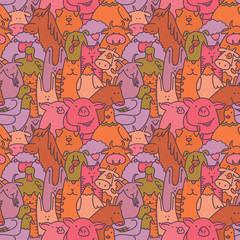 Vector farm animals seamless pattern. Livestock background