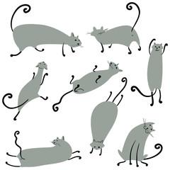 Cats artistic vector cartoon set