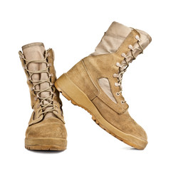 army boots in the desert coloring isolated on white background