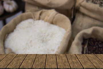 white and brown rice in the sack