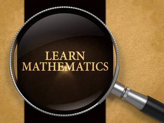 Learn Mathematics through Lens on Old Paper with Black Vertical Line Background. 3D Render.