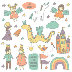 Cute hand drawn doodle fairy tale objects collection