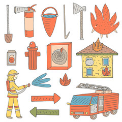Hand drawn doodle objects collection that fireman needs