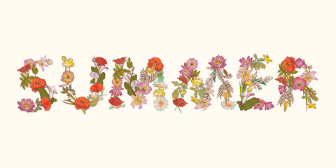 SUMMER. Word of floral letters