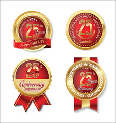 Anniversary golden badges collection 25 years