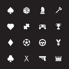 white simple flat game icon set for web design, user interface (UI), infographic and mobile application (apps)