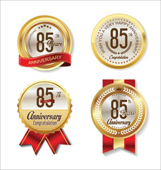 Anniversary golden badges collection 85 years