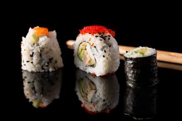 Variety of maki sushi