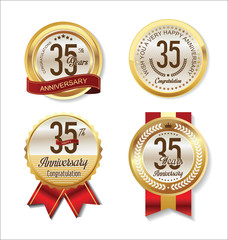 Anniversary golden badges collection 35 years