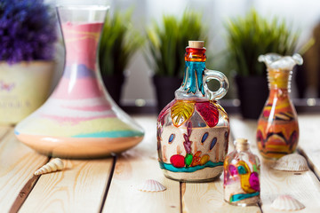 Decorative Glass Bottles with Colored Sand Inside and Shapes of Desert and Camels
