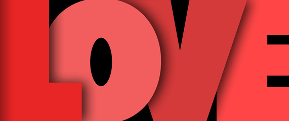 The word love in big red letters on a black background
