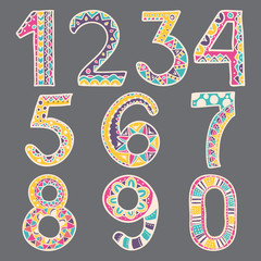 Hand Drawn color doodle numbers, from one to zero. Vector illust