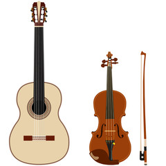 guitar and violin on a white background