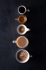 Close-up of various types of coffee