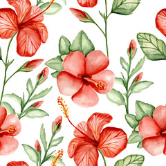 Seamless pattern with tropical flowers. Watercolor hand drawn. Vector illustration