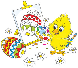 Little yellow chicken drawing a colorfully decorated Easter egg on his canvas