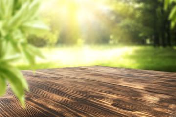 wooden desk and garden space