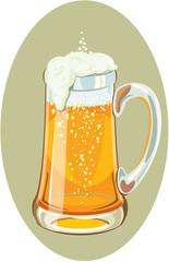 Illustration of a mug full of cold beer