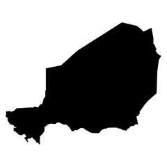 Niger black map on white background vector