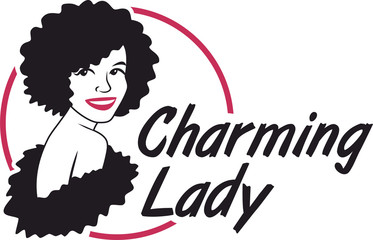 charming lady logo magenta and black circle