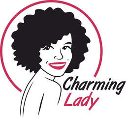 charming lady logo pink and black circle