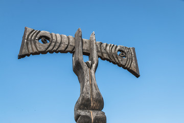 Sculpture de bois à Rillieu-La-Pape