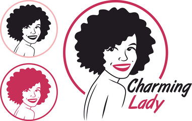 charming lady sign set circle pink