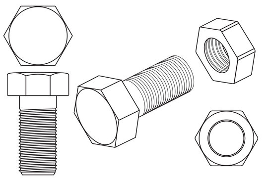 Screw and nut outline